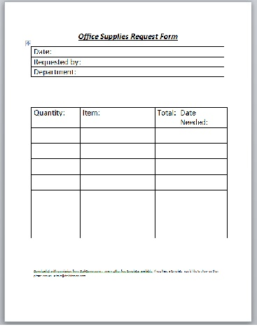 Supply Request Form Supplyorderformexample Sample Order Form