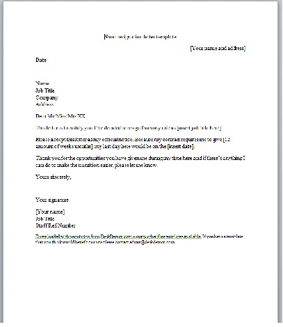 Short Resignation Letter Business Templates Executive PA and – Resignation Letter Microsoft Template