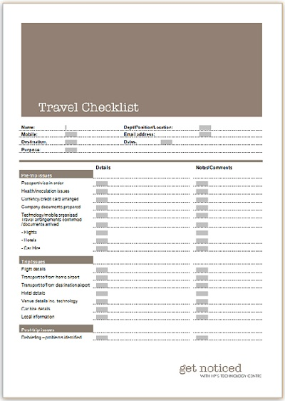 Travel checklist business templates executive pa and secretarial categories wajeb Gallery