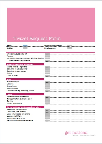 Travel Request Form - Business Templates - Executive Pa And