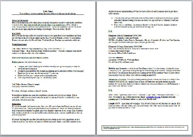 general cv template business templates executive pa and secretarial